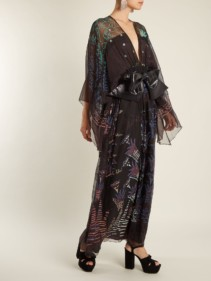 ZANDRA RHODES Summer Collection The 1973 Field Of Lilies Black Gown