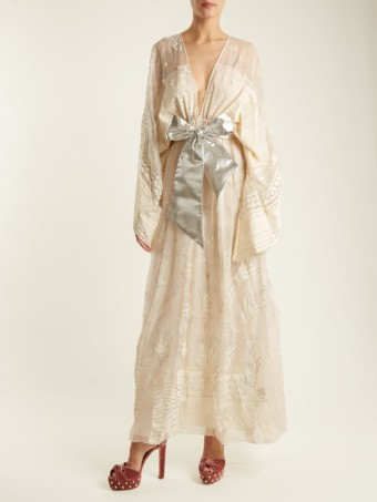 ZANDRA RHODES Summer Collection The 1973 Field Of Lilies Light Cream Gown