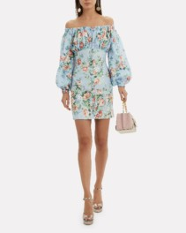 ZIMMERMANN Bowie Mini Blue / Floral Printed Dress