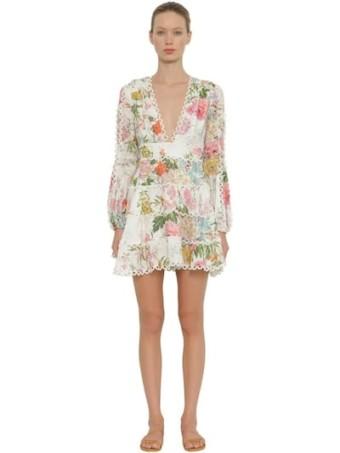 ZIMMERMANN Heathers Printed Linen Mini Multicolored Dress