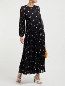 ZIMMERMANN Sunray Polka Dot-print Pleated Black Dress