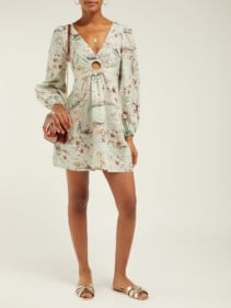 ZIMMERMANN Wayfarer Floral-Print Linen Green Dress