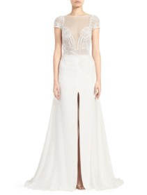 ZUHAIR MURAD Dragon Lace Long-Slit A-Line White Gown