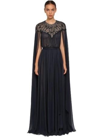 ZUHAIR MURAD Embellished Silk Chiffon Cape Blue Dress