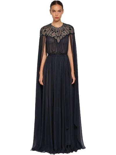 ZUHAIR MURAD Embellished Silk Chiffon Cape Blue Dress