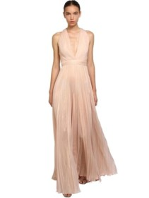 ZUHAIR MURAD Pleated Shiny Silk Long Pink Dress