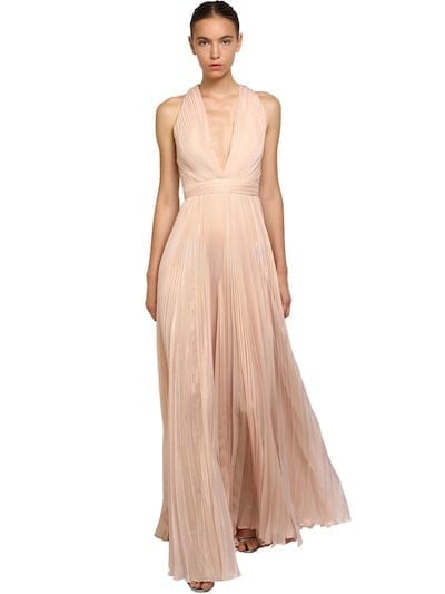 ZUHAIR MURAD Pleated Shiny Silk Long Pink Dress