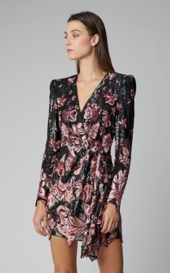 ZUHAIR MURAD Rain Floral-Embroidered Silk-Blend Mini Black Dress