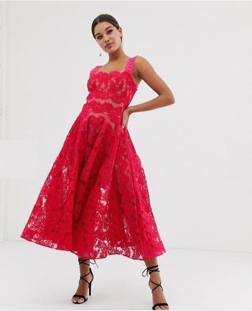 ASOS DESIGN Bronx & Banco Britney Lace Midi Dress