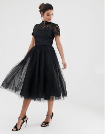 ASOS DESIGN Chi Chi London High Neck Lace Midi Dress