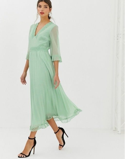 9fec7514fcb ASOS DESIGN Pleated Midi Green Dress with Lace Inserts - We Select ...