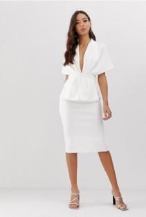 ASOS DESIGN Structured Plunge Kimono Midi Dress