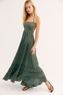 FREE PEOPLE Extratropical Shiny Hunter Green Dress