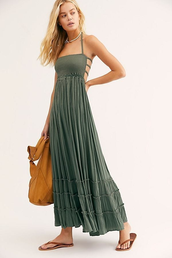 f56a8b29cc FREE PEOPLE Extratropical Shiny Green Dress - We Select Dresses