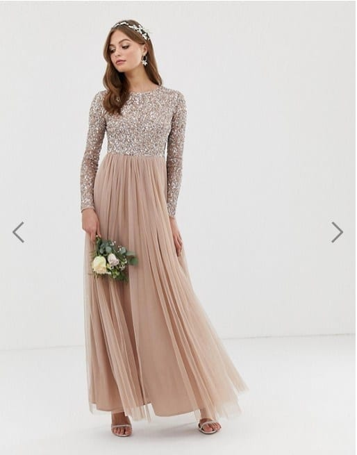 Maya Bridesmaid Long Sleeve Maxi Tulle Dress
