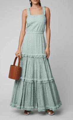 ALEXIS Milada Ruffled Broderie Anglaise Cotton Maxi Blue Dress