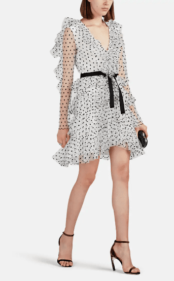 PHILOSOPHY DI LORENZO SERAFINI Ruffle Polka Dot Tulle Mini White Black Dress