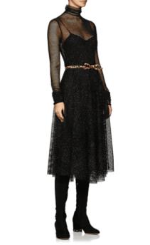 PHILOSOPHY DI LORENZO SERAFINI Metallic Mesh Midi Black Dress