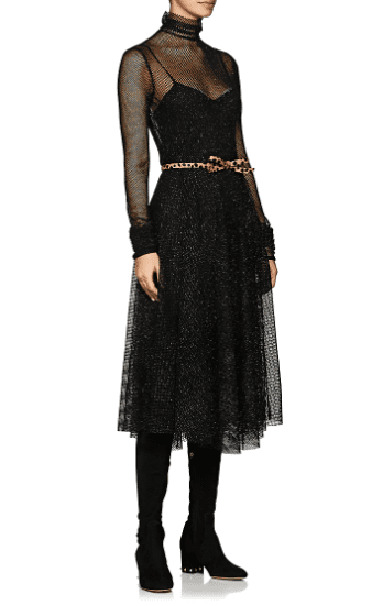 PHILOSOPHY DI LORENZO SERAFINI Metallic Mesh Midi Black Dress