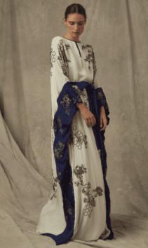 MARCHESA Exclusive Embellished Silk Georgette Navy Blue Caftan