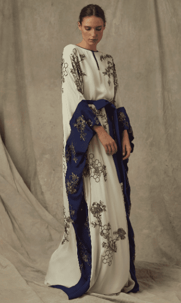 MARCHESA Exclusive Embellished Silk Georgette Navy Blue Caftan