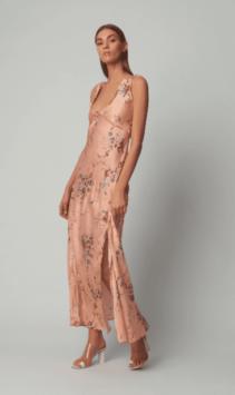 LOVESHACKFANCY Kendall Silk Orange Dress