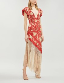 JOHANNA ORTIZ Asymmetric Fringed Embroidered Silk-Crepe Red Dress