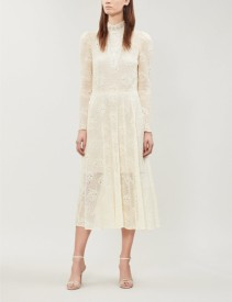 PHILOSOPHY DI LORENZO SERAFINI High-Neck Floral-Lace Midi White Dress
