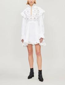 PHILOSOPHY DI LORENZO SERAFINI Broderie Anglaise-Panel Cotton-Poplin Mini White Dress