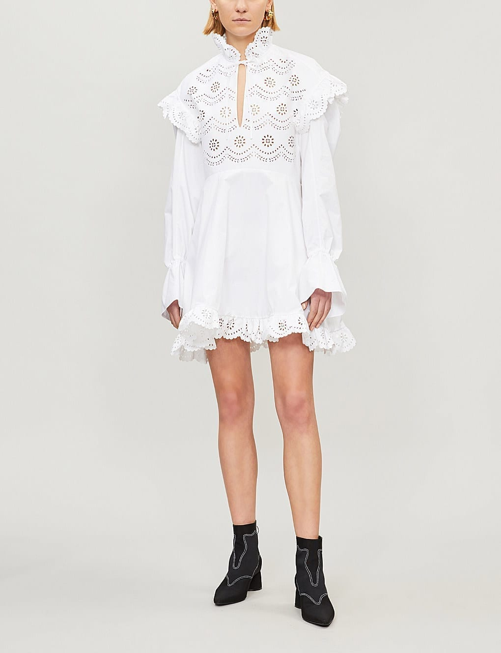 PHILOSOPHY DI LORENZO SERAFINI Broderie Anglaise-Panel Cotton-Poplin Mini White Dress