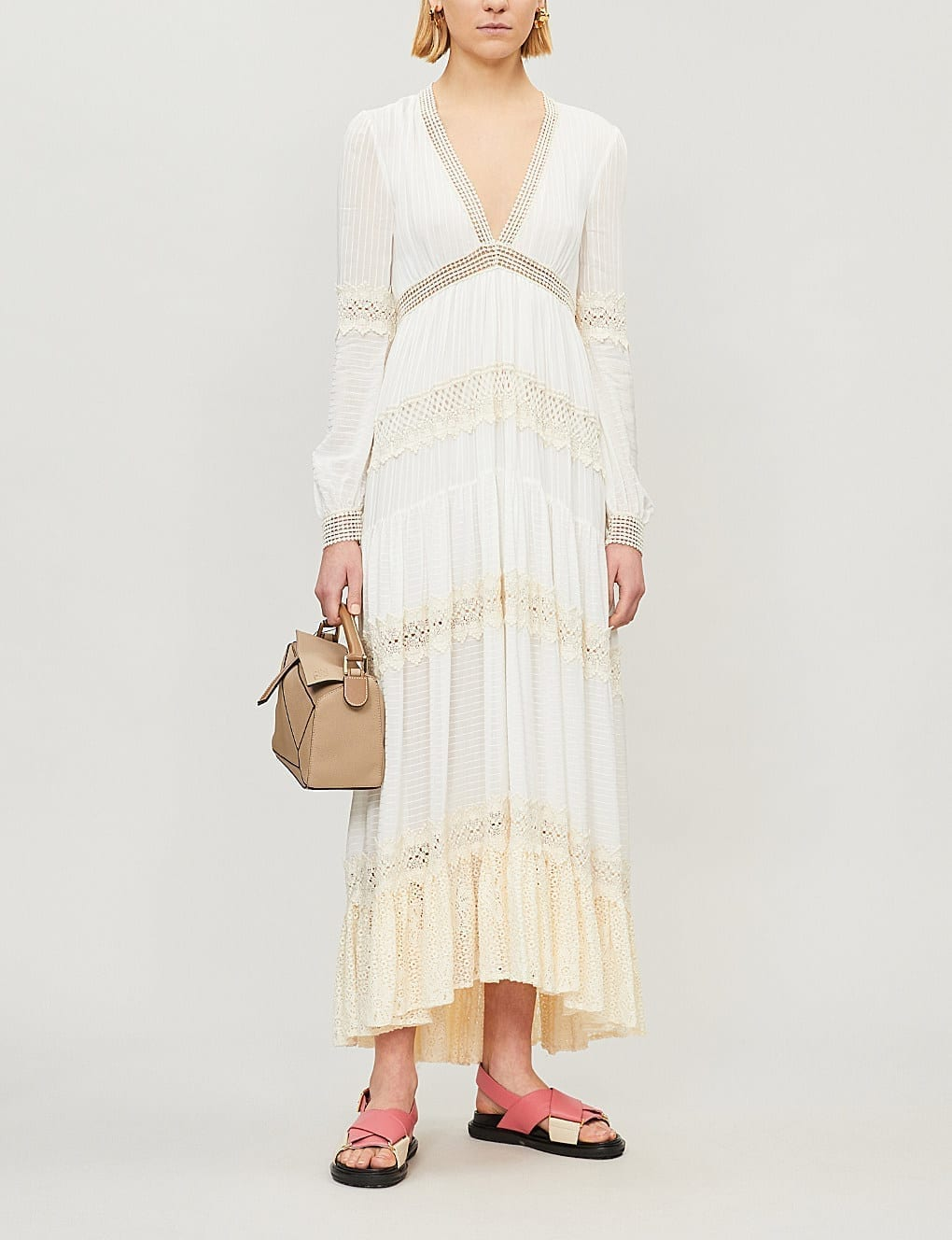 PHILOSOPHY DI LORENZO SERAFINI Lace-Panel Woven Maxi White Dress