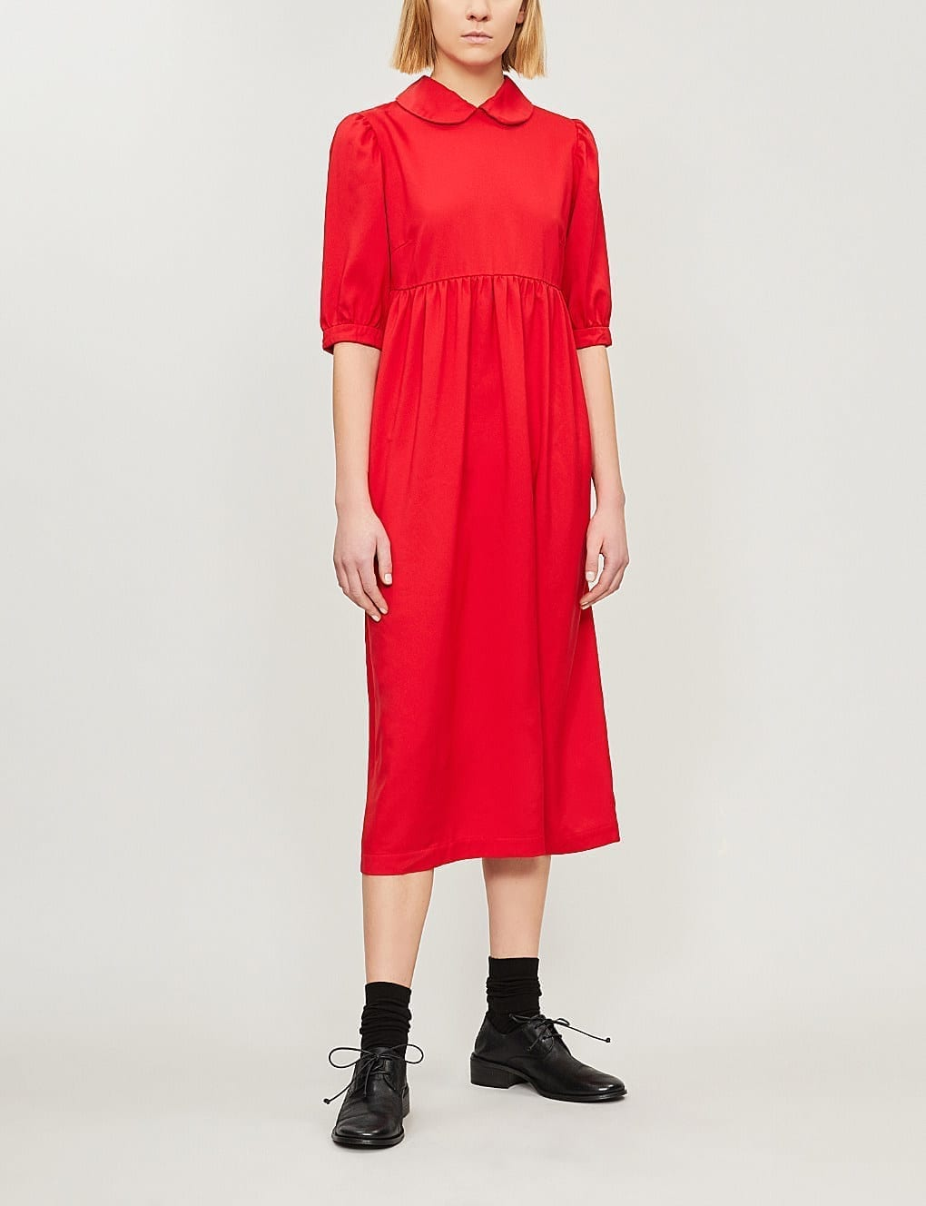 COMME DES GARCONS GIRL Smocked Woven Red Dress