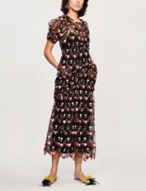 SIMONE ROCHA Floral-Embroidered Tulle Midi Multi Color Dress