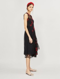 SIMONE ROCHA Floral-Embroidered Tulle Black/Red Dress