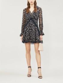 SELF-PORTRAIT Twist-Front Ditsy-Print Chiffon Mini Black Dress