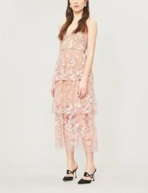 SELF-PORTRAIT Floral Embellished Tulle Midi Pink Dress