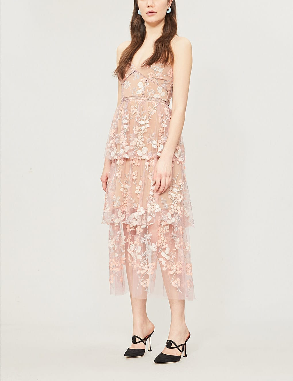 74d364bfdda7 SELF-PORTRAIT Floral Embellished Tulle Midi Pink Dress - We Select ...