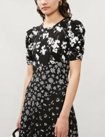 MICHAEL MICHAEL KORS Asymmetric Panel Floral Stretch-Jersey Black Dress