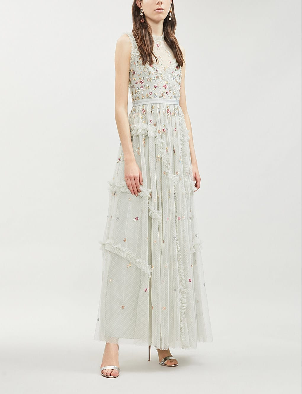 NEEDLE AND THREAD Shimmer Ditsy Embroidered Tulle White Dress