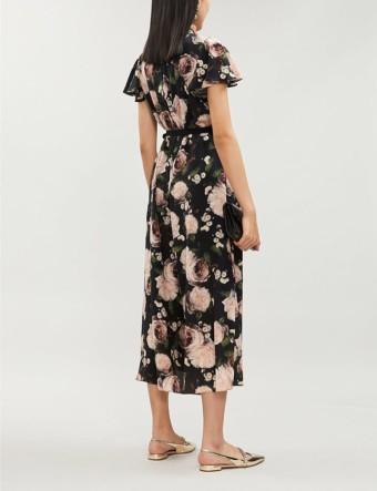 ERDEM Ella May Floral-Print Silk-Chiffon Midi Black/Pink Dress