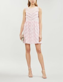 CLAUDIE PIERLOT Raspberry Scalloped Crepe Rose Pink Dress