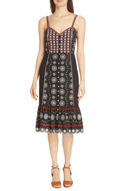 VERONICA BEARD Giuliana Beaded Linen Black Dress