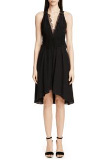 VICTORIA BECKHAM Mixed Lace Trim High/Low Silk Black Dress