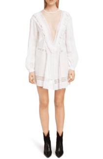ISABEL MARANT Rowina Crochet Lace Inset Long Sleeve White Dress