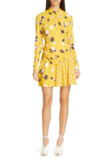 SELF-PORTRAIT Floral Print Twist Neck Long Sleeve Mini Yellow Dress