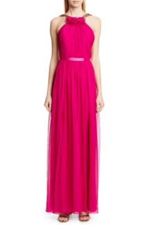 HANEY Emeline Halter Silk Chiffon Evening Fuchsia Dress