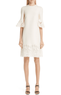 VALENTINO Lace Trim Wool & Silk Avorio Dress
