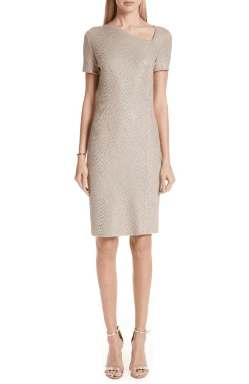 ST. JOHN COLLECTION Brielle Knit Asymmetrical Neck Dark Khaki/ Gold Dress