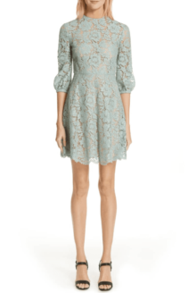 VALENTINO Lace A-Line Mini Morning Dew dress