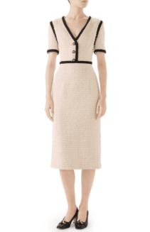 GUCCI Bouclé Tweed Moonstone Ivory Dress